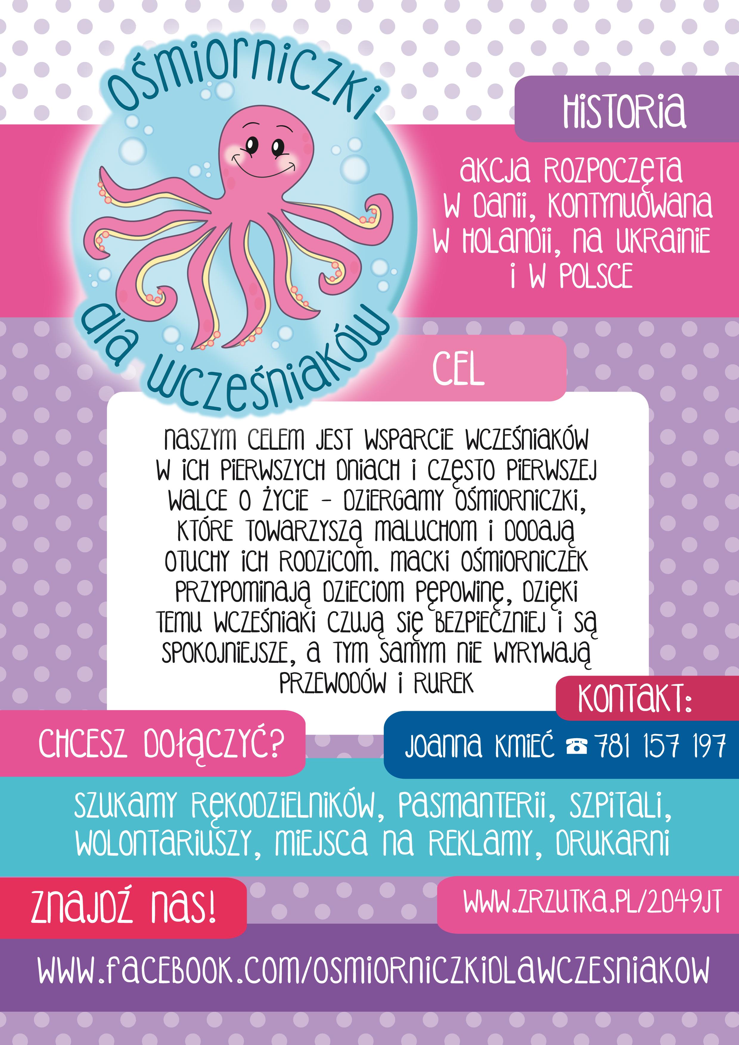 ośmiorniczki dla wcześniaków - plakat