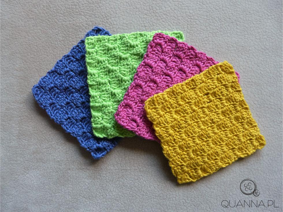 kolorowe letnie podkładki robione na szydełku